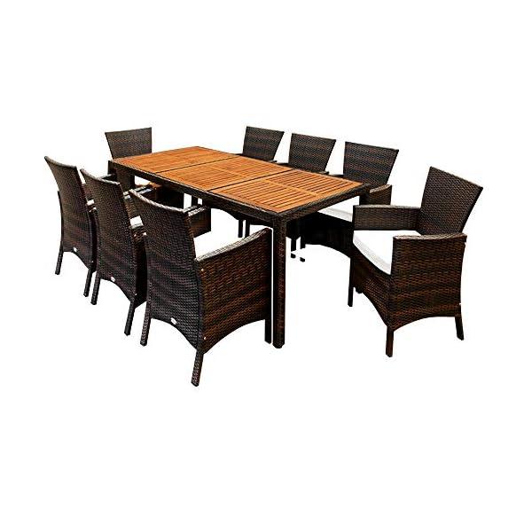 Casaria Poly Rattan Sitzgruppe Schwarz 7cm Dicke Auflagen 8 Breite Stühle & 1 Tisch Akazienholz Gartenmöbel Garten Set