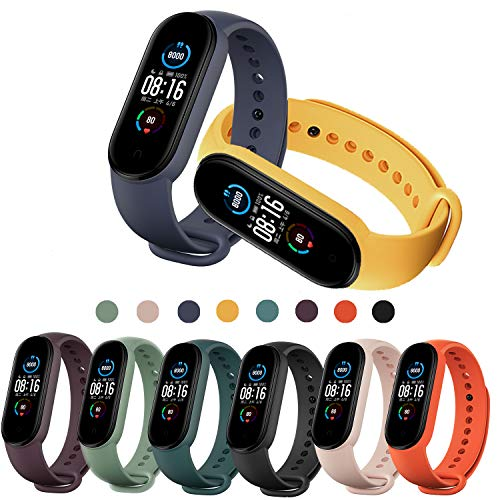 PIXESTT 8 Colors Straps for Mi Band 5, Smartwatch Bracelet Anti-Lost Silicone Designed Accessories Adjustable Wrist Straps for Xiaomi Mi Band 5 - No Tracker
