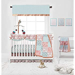 Bacati – Sophia Paisley 10 Pc Girls Crib Baby Bedding Set Including Crib Rail Guard 100 Percent Cotton for US Standard Cribs. (Coral/Aqua)