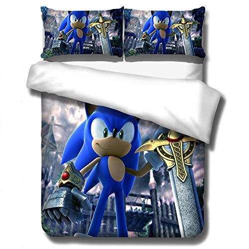 AmenSixye Textiles para el hogar, Juego de Cama 3D Sonic con Estampado de Erizo, Juego de edredón de Dibujos Animados de algodón para niños, Juego de edredón Doble King Completo, 180x210cm(3piezas)