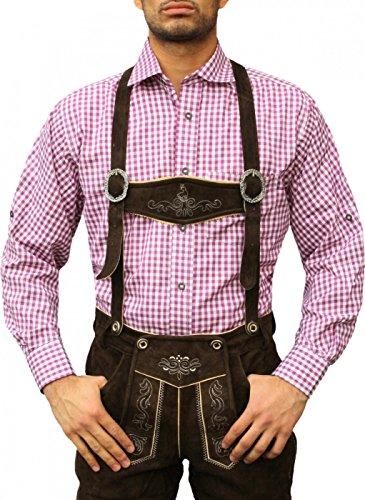German Wear Karo Bayerisches Trachtenhemd Hemd für Lederhosen Trachtenmode Lila/kariert, Hemdgröße:XL