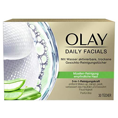 OLAY Daily Facials Reinigungstücher für empfindliche Haut, 30 Tücher, Mizellen-Reinigung, Gesichtspflege, Abschminktücher, Gesichtsreinigung, Peeling