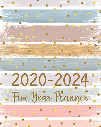2020-2024 Five Year Planner: 5 Year Monthly Planner For To Do List Journal Notebook | Academic Schedule Agenda Logbook Or Student Teacher Organizer | Business Appointment W/ Holidays | Gold Sprinkle WaterColor