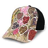 Printed Baseball Cap,Healing Herbs Heart Shaped Bowls Flower Petals On Wooden Planks Print Healthcare,Hat for Men Women Teens