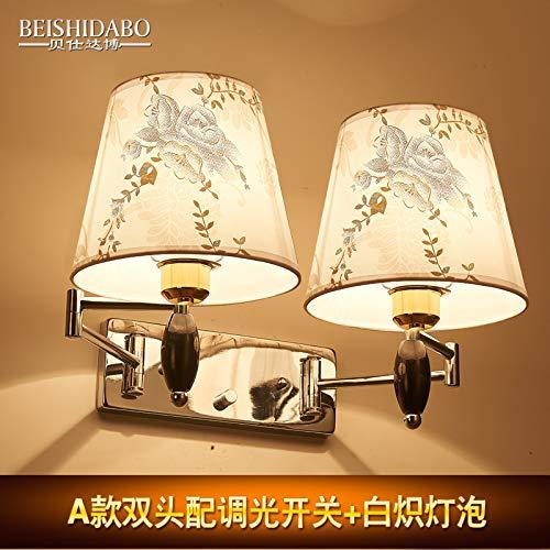 YU-K Moderne wandlamp, dimbare LED-spiegel, voorlamp, wandlamp, dual head, met dimmer, gloeilampen
