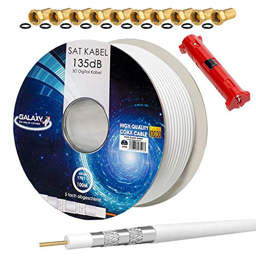 HB-DIGITAL Set 100m Koaxial SAT Kabel 135db Weiß + 10x F-Stecker vergoldet + 1x Abisolierer | CCS Stahl Kupfer Satellit Antennenkabel 5-Fach geschirmt für DVB-S/S2 -C/C2 -T/T2 DAB+ Radio Anlagen