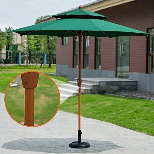 Erru Parasol Deporte Jardin Plage Parapluie de Parasol de Pelouse avec Évent, 2,7m/ 8,9 Pieds Parapluie de Marché de Patio Vert Parasol À Double Plateau pour Table Basse et Chaises