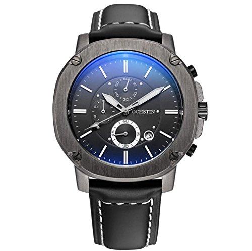 XINLEE Herrenuhr Zeiger zeigt Multifunktions DREI-Pin wasserdichtem Leder Gürtel Uhr, 004