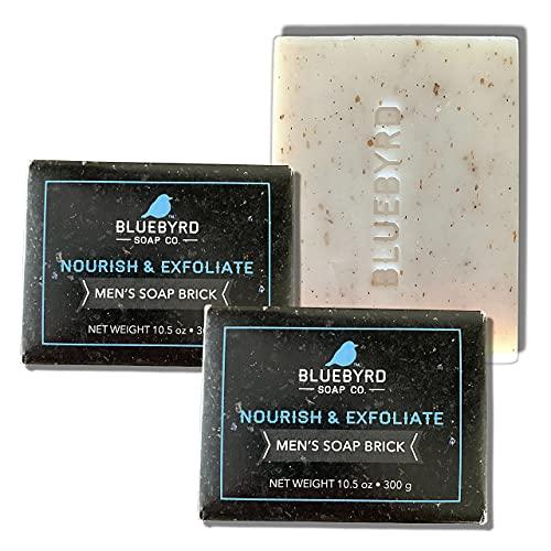 BLUEBYRD Soap Co. Mens Exfoliating Brick of Soap   2 Pack of 10.5oz....