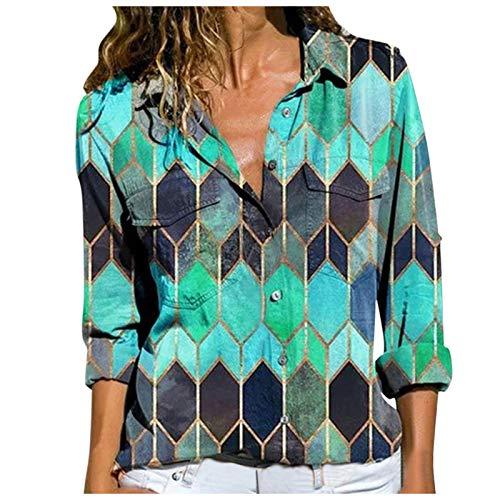 Sudaderas de mujer cuello redondo manga larga botón hasta camisas gráficas sueltas blusa señoras...