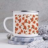 Taza esmaltada de 10 oz para acampar, taza de café esmaltada para acampar, taza de café al aire libre, color naranja con diseño de setas, melocotón, vasos con asa, para uso doméstico / oficina / fiest