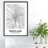 IGZAKER Portland Karte Leinwand Kunstdruck Poster Stadtplan
