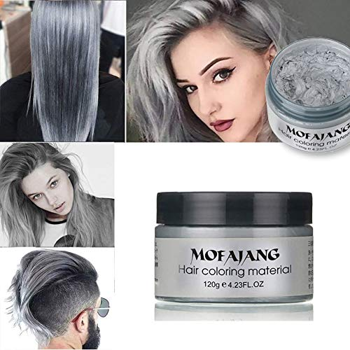 Hair Color Wax Wash Out Hair Color Instant Hair Wax Temporary Unisex Pomade Modeling Fashion DIY Hair Color Wax Mud Hair Dye Cream Washable (Silver Grey)