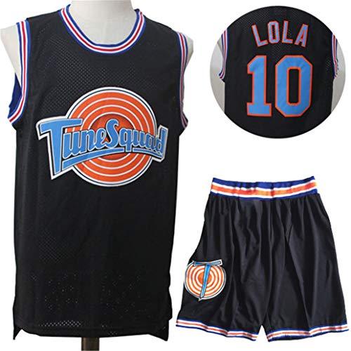 Tunesquad Basketball Trikots Space Jam #10 Lola Bunny,Unisex Rundhals ärmelloser Film Sportswear Atmungsaktives Netz Schnelltrockene Weste Shorts Sets-Black-L