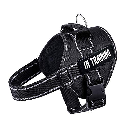 WOCUME No Pull Dog Harness Adjustable 3M Reflective Pet Vest Harness Dog Training Vest Breathable with Handle for Large Dogs Easy Control Harness(XL,Black)