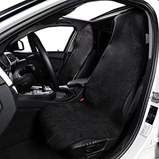 AUTOYOUTH 2PCS Towel Seat Cover Car Seat Mat for Yoga, Fitness, Sports, Beach Universal Fit for Most Cars, Trucks, SUV Sweat Absorption and Flash Drying in Summer - 2PCS, Black