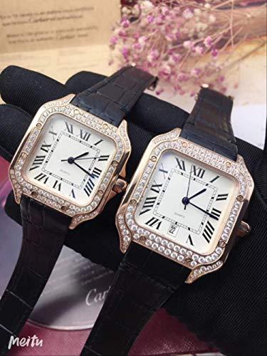 LKYH Klassische Armbanduhr Herren Diamant Lünette Uhr Damen Quarz Saphir Edelstahl Quadratische Uhren Silber Gold Weiß Schwarz LederHerren