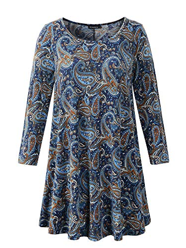 Veranee Women's Plus Size Swing Tunic Top 3/4 Sleeve Floral Flare T-Shirt (XXX-Large, 16-24)