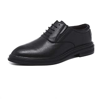 Bin Zhang Business Oxford for Men Formal Dress Shoes Lace Up Microfiber Leather Block Heel Elastic Band Pointed Toe Breathable Lined Solid Color Hidden Height Increasing