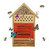 Casa Delle Api Naturale Hotel In Legno Rifugi Per Insetti Set Di Apicoltura Nest Box Tetto Rifugio Capanna Nido D'alimentazione Per Insetti Volanti Api Farfalle Coccinella Decorazione Del Giardino
