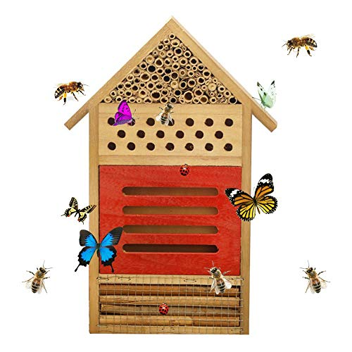 perfecti Insektenhotel Holz Nistkasten Für Bienen Aus Naturmaterialien Insektenhaus, Nisthilfe Für Wildbienen & Käfer, Balkon
