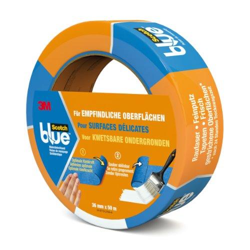 Scotch Blue 80EU3650 Malerabdeckband (Malerkrepp) optimale Klebkraft auf empfindlichen Oberflächen, 36 mm x 50 m, blau