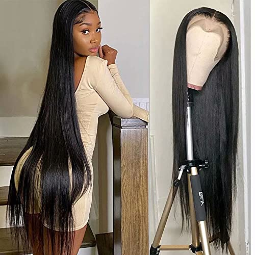 Maxine Long Glueless Lace Front Wigs 13x6 HD Transparent Lace Wig Straight Wave Unprocessed Brazilian Virgin Human Hair Wig Pre Plucked Hairline with Baby Hair 150% Density Wig for Black Women 30 Inch