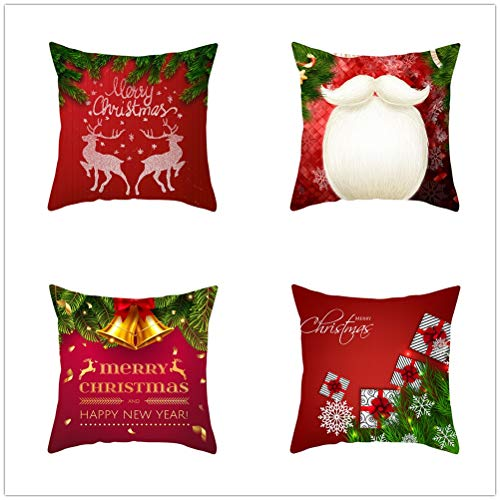 Set of 4 Pcs Throw Pillow Case Cushion Covers Christmas Red Velvet Soft Superfine Fiber Square Decorative Throw Pillowcases for Living Room Sofa Car with Concealed Zip E5340 55x55cm/21.5x21.5in