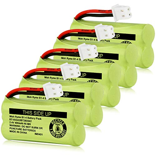 iMah BT183342/BT283342 2.4V 400mAh Ni-MH Battery Pack, Also Compatible with AT&T VTech Cordless Phone Batteries BT166342/BT266342 BT162342/BT262342 2SN-AAA40H-S-X2, Pack of 5