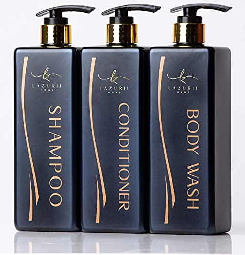 Shampoo Dispenser (Black, Set of 3, 25oz) - Empty Pump Bottles for Bathroom - Refillable Shampoo Conditioner Body Wash Dispensers – Shower Soap Dispenser Bottle with Pump – Stylish Permanent Labels