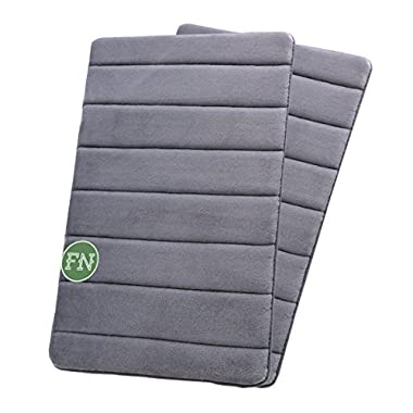 FindNew Non-Slip Soft Microfiber Memory Foam Bath Mat ,Toilet Bath rug ,with Anti-Skid Bottom Washable Quickly Drying Bathroom mats,Set of 2 (16 X24 , Grey)