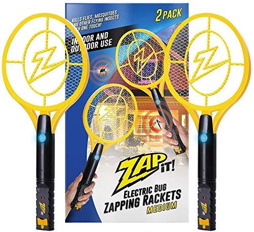 ZAP IT! Bug Zapper - Mosquito Recargable, Fly Swatter/Killer y Raqueta Bug Zapper - Carga USB de 4.000 voltios, luz LED súper Brillante para Zap in The Dark (Medium Twin)