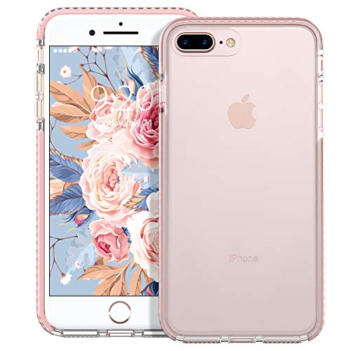 MATEPROX Cover iPhone 8 Plus, Cover iPhone 7 Plus, Custodia Protezione Slim Anti Scivolo Anticaduta Anti-shocke Antiurto AntiGraffio Antiurto Posteriore Trasparent Cover per iPhone 8/7 Plus -Rosa