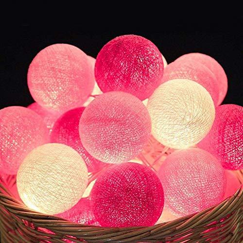 Cotton Ball Lichterkette - 3,8M 20 LED Kugel Lichterketten mit Stecker für Innen Nachtlicht Deko wie Weihnachten, Hochzeit, Party, Zimmer, Vorhang