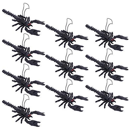 TOYANDONA 10PCS Halloween Tricky Requisiten Fake Scorpion Simulation Spielzeug für Halloween Aprilscherz Unfug (Schwarz)