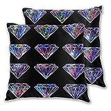 Galaxy Crystal Diamonds Funda de Almohada Juego de 2 Piedras Preciosas cósmicas con Estrellas y Nebulosa Fundas de Almohada Conchas Decoración del hogar 45 * 45 cm