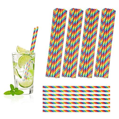 PATAZOK Pajitas de Papel Rainbow 200 PCS Pajitas de Papel Bebidas Cóctel Jugo de Fruta Decoración Cumpleaños Bodas Nacimientos Fiestas Suministro Restaurante Bar