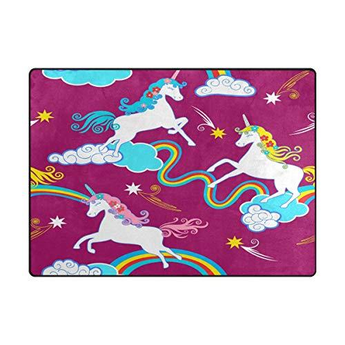 ISAOA Alfombra Moderna y Suave para niños, diseño de Unicornio fantasía, Alfombra para Dormitorio, Sala de Estar, habitación de niños, decoración Antideslizante y Lavable, 152 cm x 120 cm