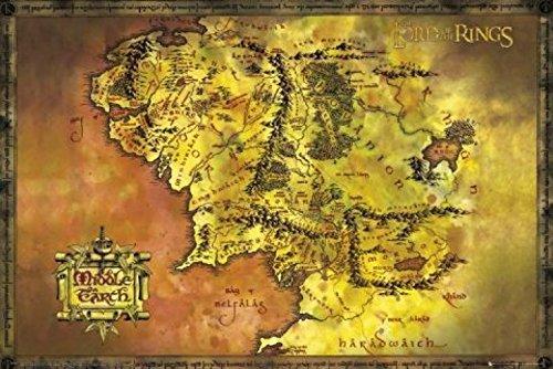 1art1 Der Herr Der Ringe - Landkarte Von Mittelerde Poster 91 x 61 cm