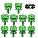 YATENG 10-pcs Anodized Aluminum Computer Case Thumbscrews (6-32 Thread) for Computer Cover/Power Supply/PCI Slots/Hard Drives DIY Personality Modification & beautification (Green)