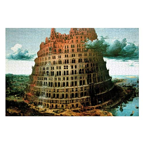 Pieter Bruegels The Little Tower of Babel Puzzles for Adults, 1000 Piece Kids Jigsaw Puzzles Game Toys Gift for Children Boys and Girls, 20