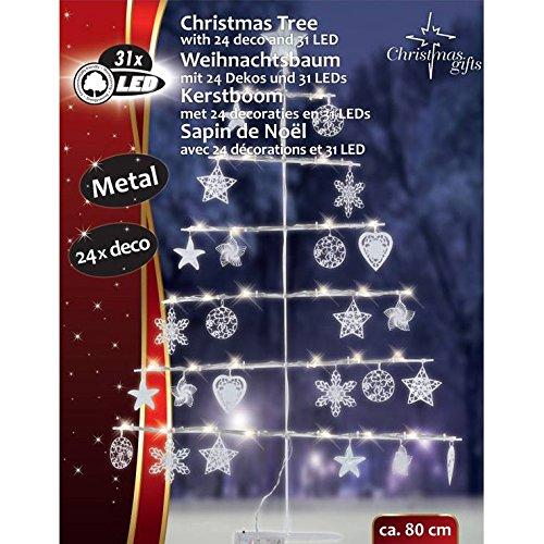 BAKAJI Sagoma Ad Albero di Natale 31 LED Altezza 80 cm con Decorazioni Ideale per Esterno e Interno