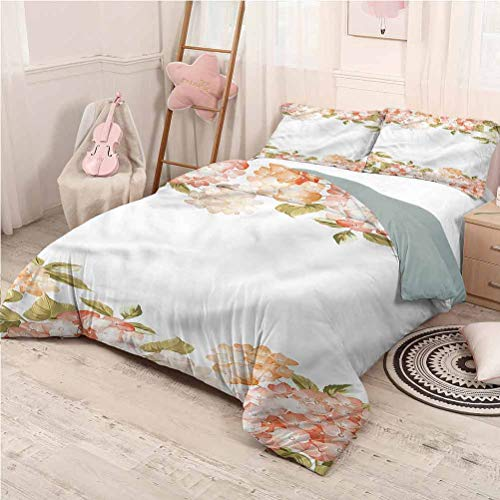 Floral Bed Sheets Set King, Ultra Soft Microfiber Bedding Hydrangea Bouquets Wedding Soft Bedding - King 104'x90'
