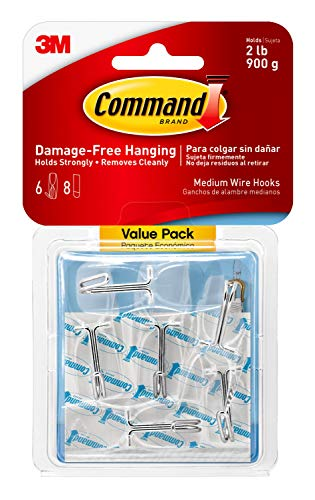 Command Clear Medium Wire Hooks, Value Pack of 6 Hooks and 8 Clear Command Adhesive Strips, Suitable for items up to 900 g