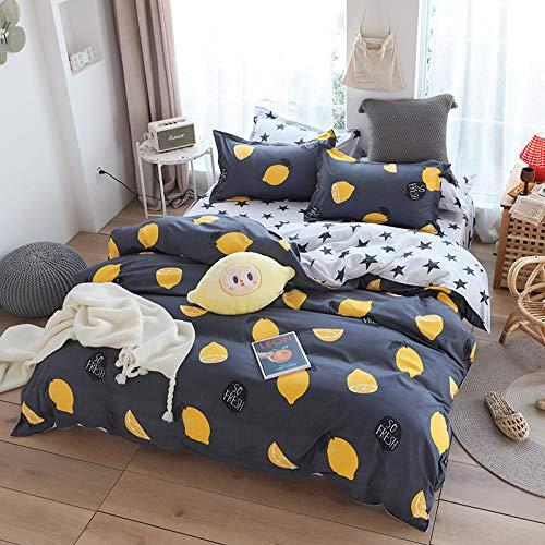 GTBDWOSC Fruta Limón Gris Ropa De Cama 220X240 Cm 100% Microfibra Suave Y Agradable para Dormir – 1 Funda Nórdica + 2 Fundas De Almohada - Antialérgico Cómodo Suave Fácil De Limpiar