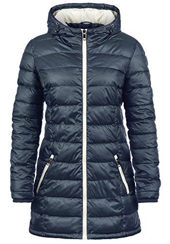 DESIRES Dori Damen Steppmantel Übergangsmantel Lange Jacke gefüttert mit Kapuze, Größe:S, Farbe:Insignia Blue (1991)