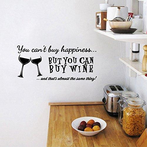 Je kunt geen geluk kopen, maar je kunt wel wijn vinyl muur kunst quote sticker thuis keuken/bar muur sticker decoratie kopen 84x37cm
