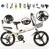 TYXTYX Folding Bicicleta Plegable Ruedas de 20' Hombre 6 velocidades,Fácil de Transportar,Vintage, con Cesta, Unisex Adulto