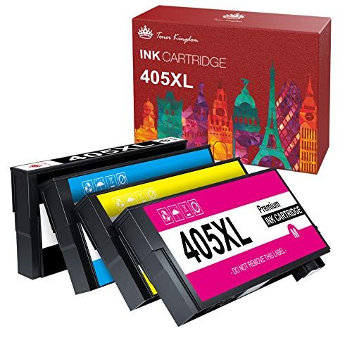 Toner Kingdom 405XL Tintenpatrone Kompatibel für Epson 405XL für Epson Workforce Pro WF-3820DWF WF-3825DWF WF-4820DWF WF-4825DWF WF-4830DTWF WF-7830DTWF WF-7835DTWF WF-7840DTWF (4 Pack)