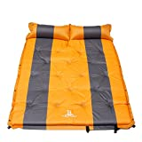 Self Inflating Mattress Sleeping Mats Air Bed Camping Hiking Joinable w/Pillow (Orange, Double)